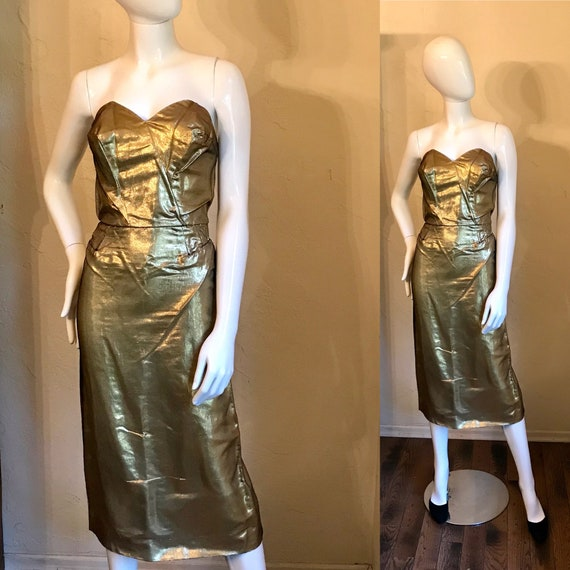 1950's Beaumelle California Gold Lame' Sexy Wiggle