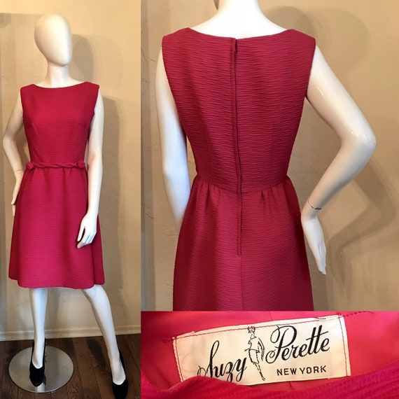 1950's 1960's Suzy Perette Hot Pink Cocktail Day … - image 1