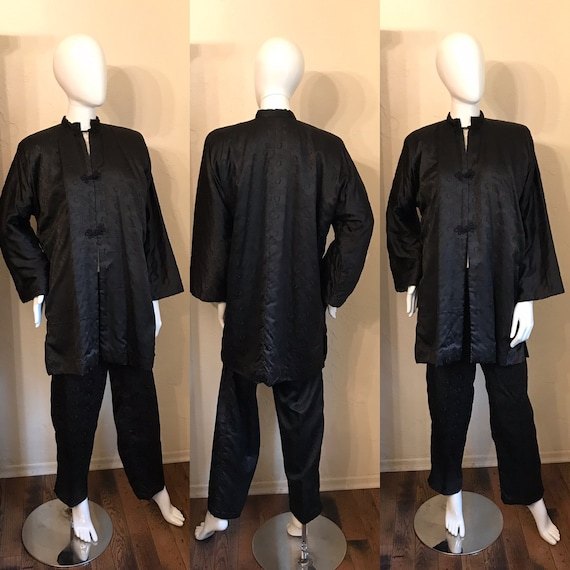 1940's Japanese Black Quilted Silk Jacket  & Pants