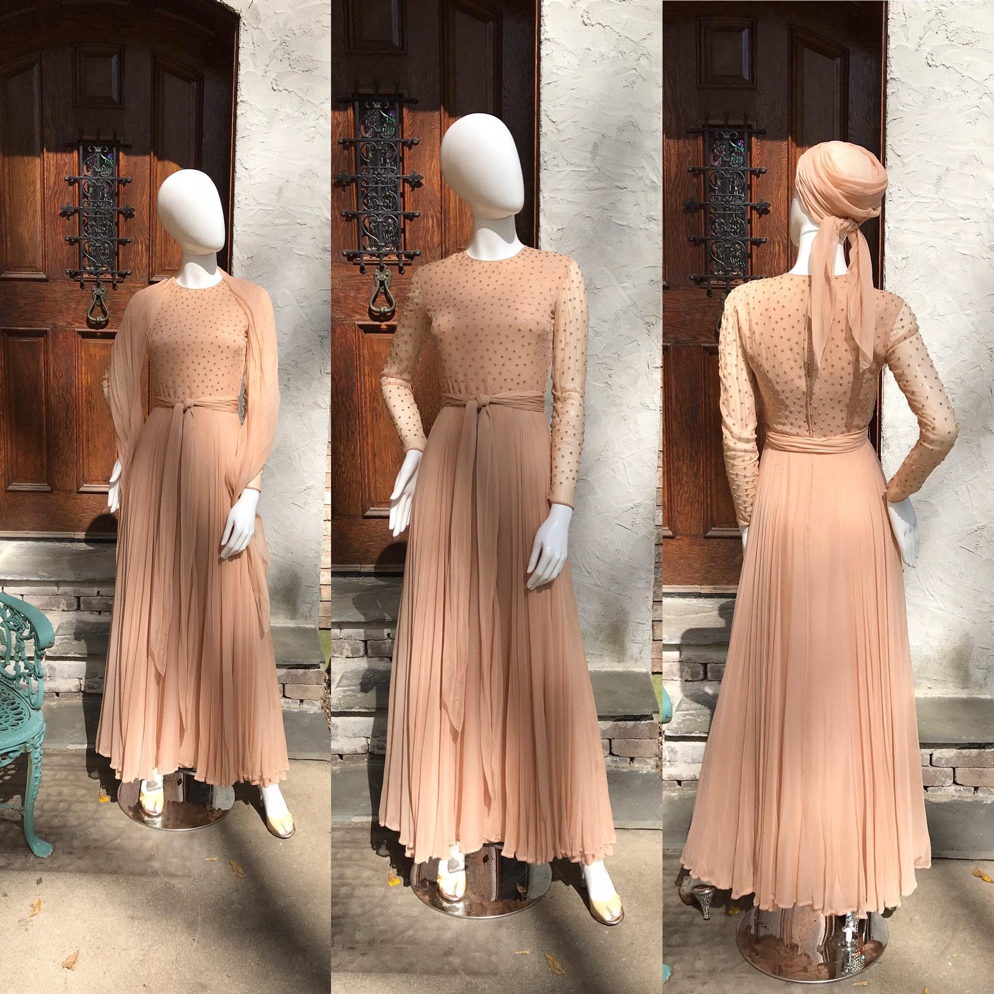 Vintage Scarf Styles -1920s to 1960s Vintage 1960s 70s Dazzling Rhinestone Blush Silk Chiffon Evening Gown Dress S $395.00 AT vintagedancer.com