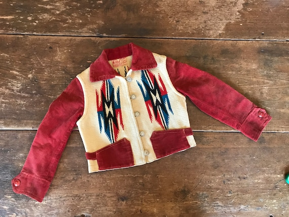 1940's 1950's Child's Chimayo Native Woven Wool &