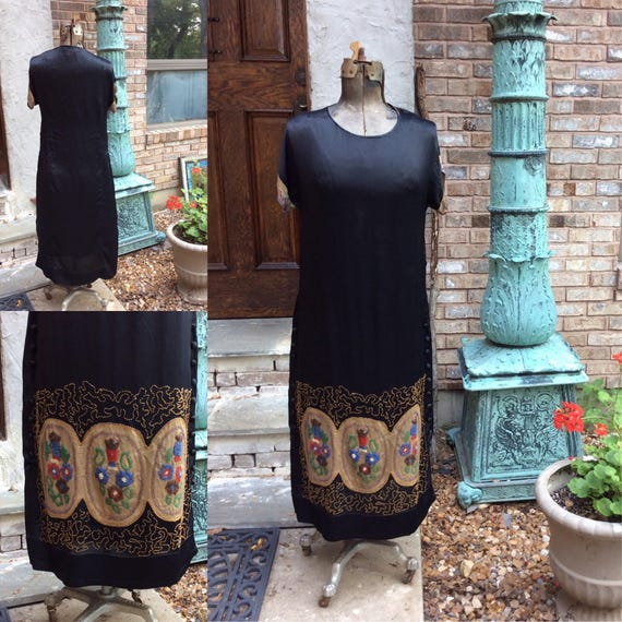 1920's Black Silk Beaded Evening Dress Flapper Dre