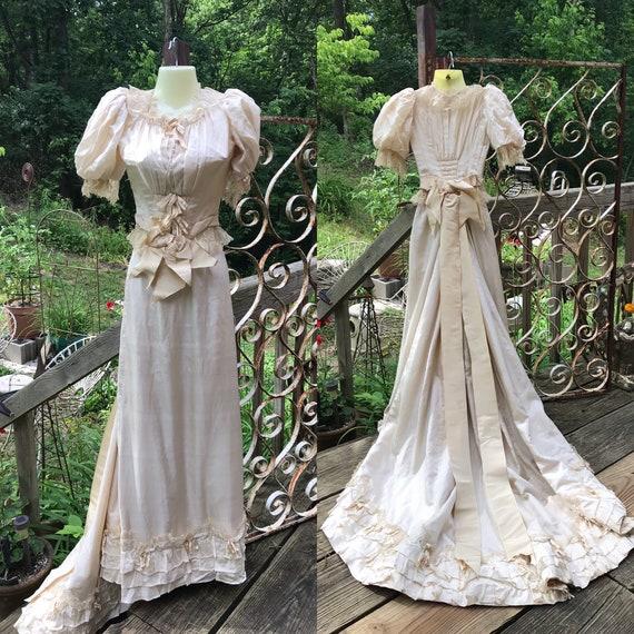 Antique Victorian Edwardian Silk Wedding Gown Dres