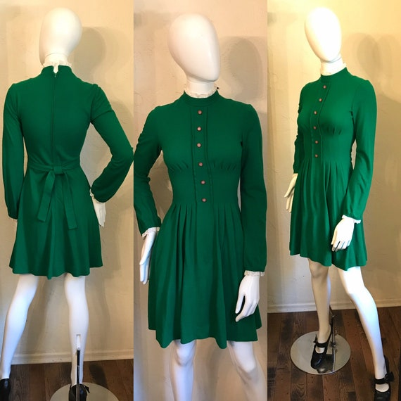 Darling 1970's Lanz Original Green Knit Dress S