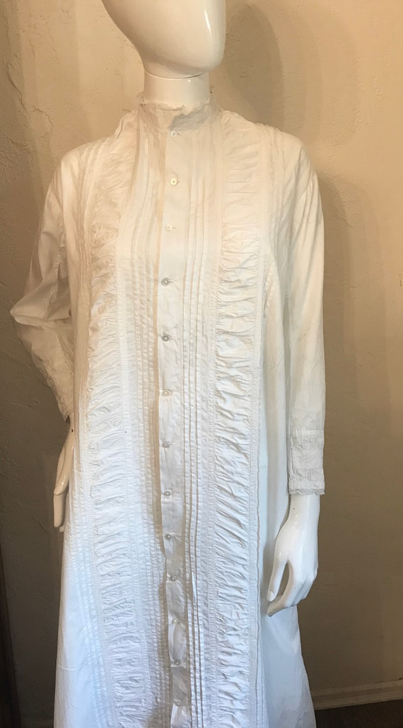 Antique Victorian White Pintucked Lace Cotton Nig… - image 3
