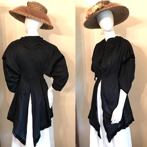 Antique Victorian Edwardian Black Cutaway Jacket C