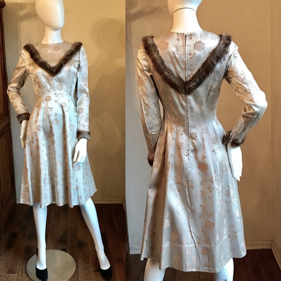 1950's Gold Satin Brocade Fur trimmed Holiday part