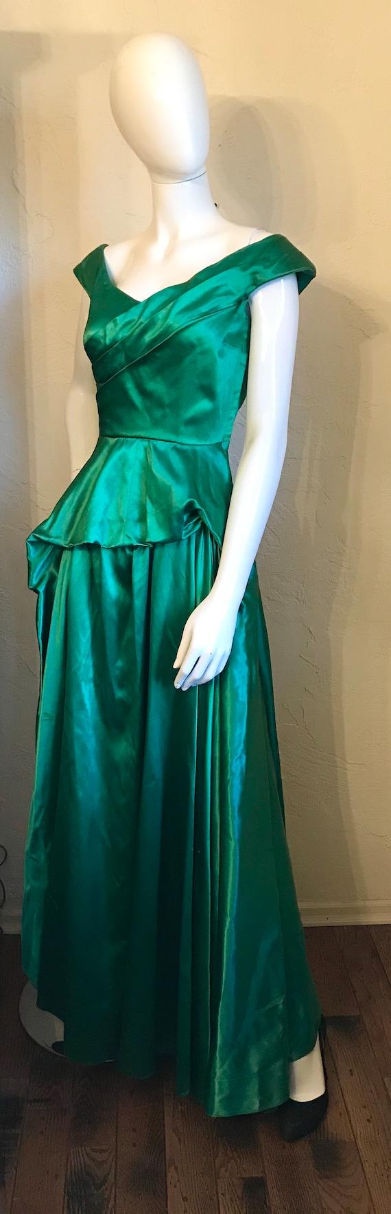 1940's 1950's Ceil Chapman Emerald Green Evening … - image 8