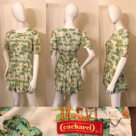 1960's 70's Cacharel Novelty Liberty Print Cotton