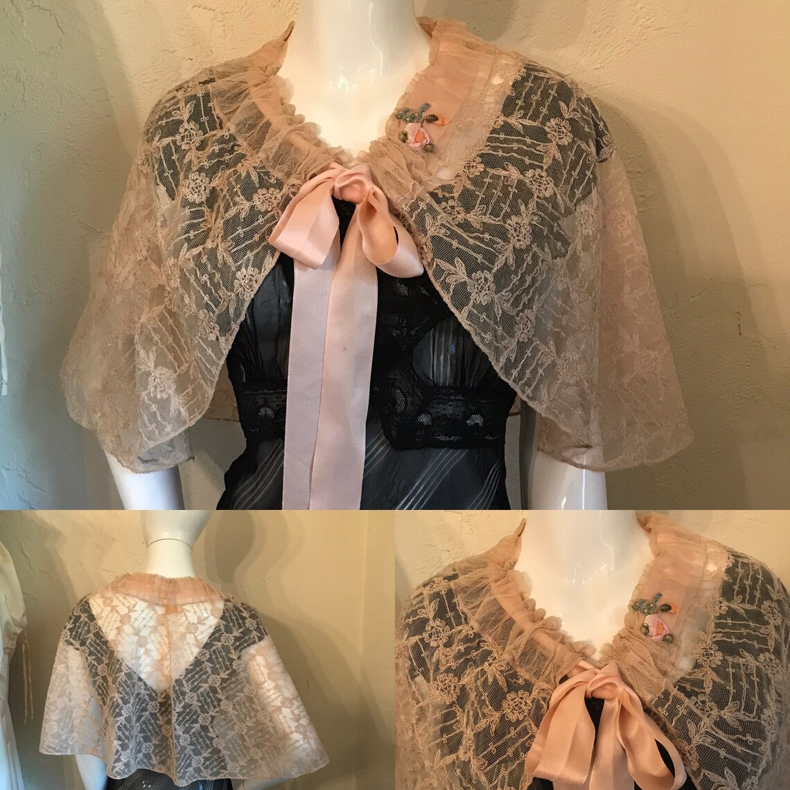 1920's 30's Beautiful French Net Lace Evening Cape