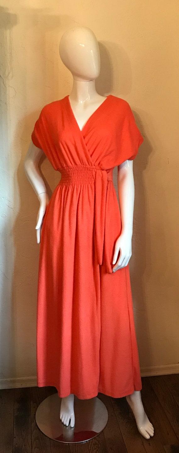 Vintage 1970's Mod Tangerine Terry Knit Maxi Dres… - image 2