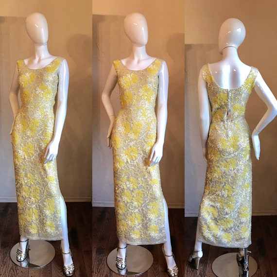 1950's 60's Gene Shelly Boutique Yellow Sequin Bea
