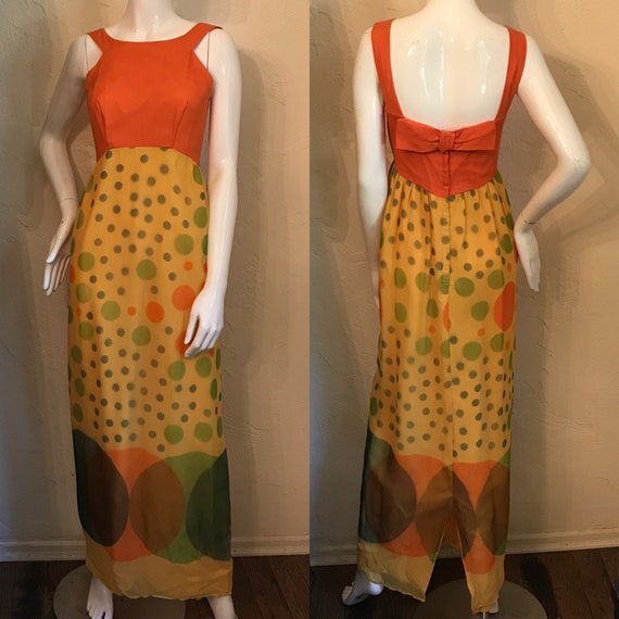 Vintage 1960's MOD Op Art Dots Chiffon Maxi Dress