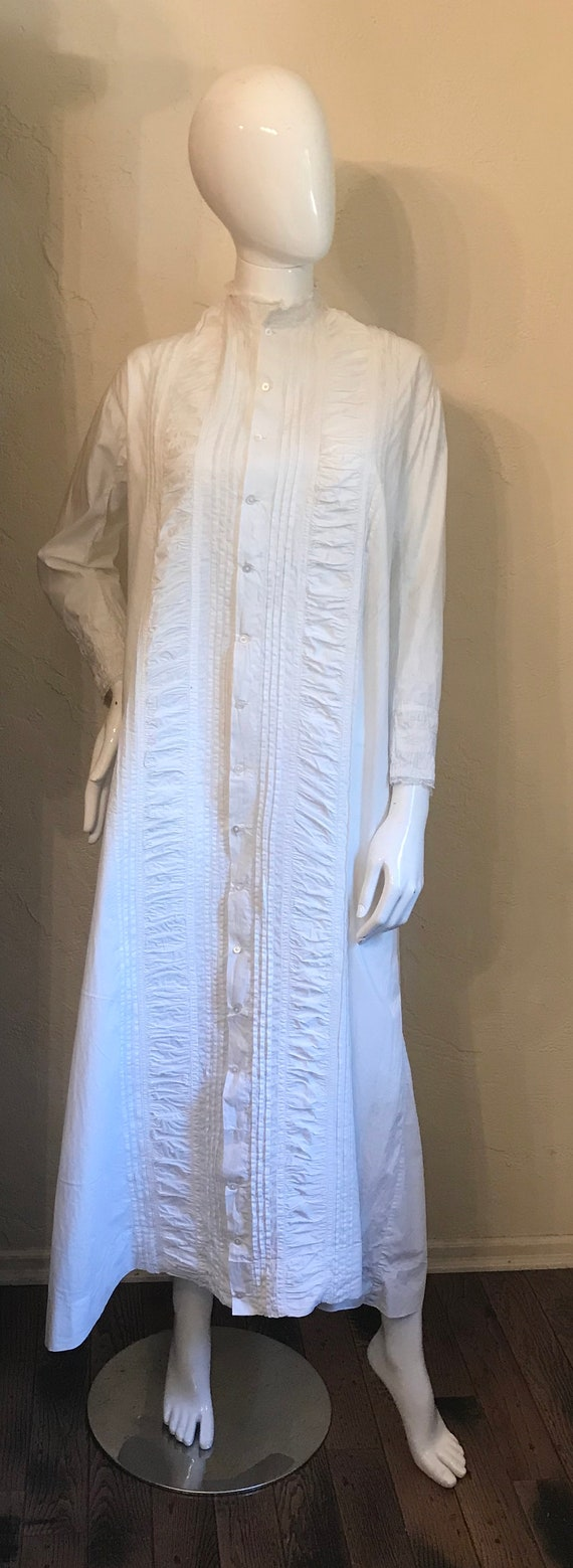 Antique Victorian White Pintucked Lace Cotton Nig… - image 2