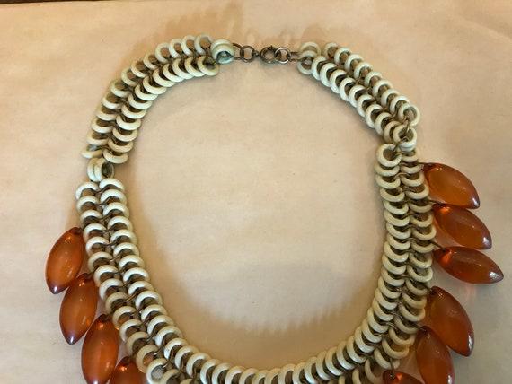 Vintage 1940's Ornate celluloid chain Bakelite Te… - image 3