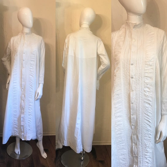 Antique Victorian White Pintucked Lace Cotton Nigh