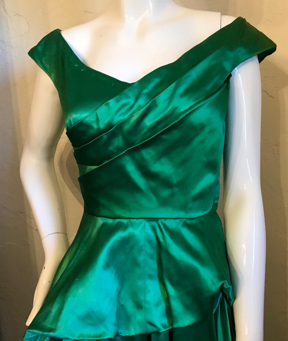 1940's 1950's Ceil Chapman Emerald Green Evening … - image 3