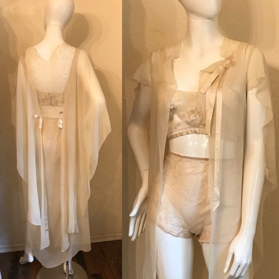 Vintage 1920's Ethereal Chiffon Negligee Robe S