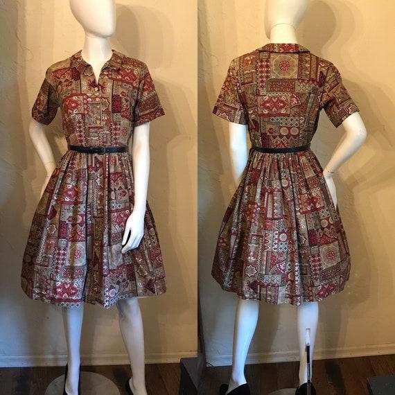 1950's Novelty Print Cotton Shirtwaist Day Dress M
