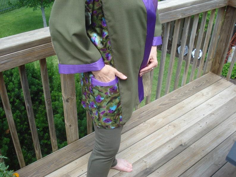 Glorious purple and olive color-block kimono jacket