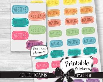 Printable Meeting Reminder Sticker | Colorful Functional Planner Sticker | Rainbow Reminder Label