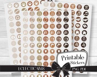 Neutral Reminder Icon Stickers | Printable Round Planner Stickers | Circle Bill Icon Planner Stickers
