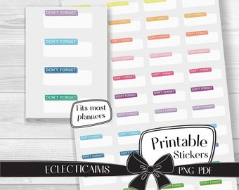 Printable Don't Forget Functional Planner Sticker Boxes