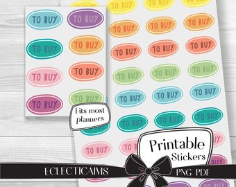 Printable To Buy Reminder Sticker | Colorful Functional Planner Stickers | Rainbow Reminder Label