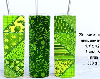 Lime Tangram Geometric Tumbler Sublimation Wrap