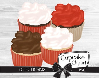 Valentines Day Clipart | Holiday Cupcake Illustration | Cupcakes Digital Sticker