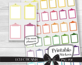 Colorful Clipboards Printable Planner Sticker Boxes | Rainbow Reminder Note Sticker