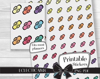 Menstrual Cycle Reminder Stickers | Period Tracker Functional Planner Stickers | Colorful Maxi Pad Printable Stickers