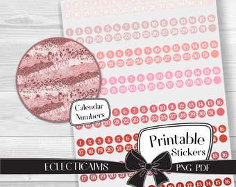 Pink and Red Calendar Number Stickers | Printable Date Cover Stickers