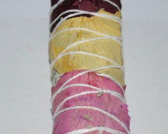 Rose Petal White Sage Bundle, Smudge Stick, 4 inch smudge stick
