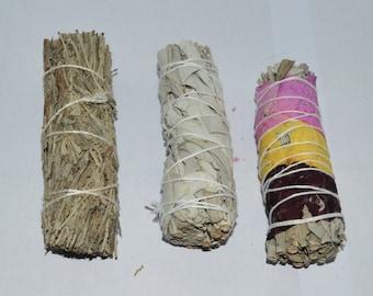 3-piece Sage Bundle, Rose Petal Sage Stick, Blue Sage, White Sage Stick, Smudge Kit, Sage Bundle, Cleansing gift, Meditation Gift