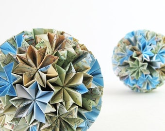 Paper Globe of Stars - Origami Kusudama Paper Ornament - Modern Home Decor - Map Paper Art Sculpture - World Travel Decor Paper Anniversary