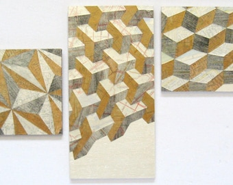 """Map Reconfigured No2 - Map Paper Collage Geometric Cityscape Painting - 9x4.5"""" Wood Panel Mixed Media Art Tall Buildings Metallic Home Decor"""