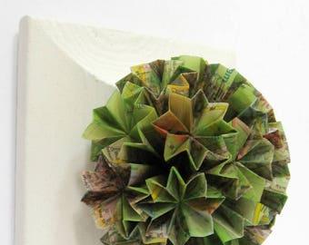 "The Green Planet - Globe Wall Sculpture Map Paper Collage - 5.5"" Square Art Tile - Origami Art Panel - World Travel Art - Wanderlust Decor"