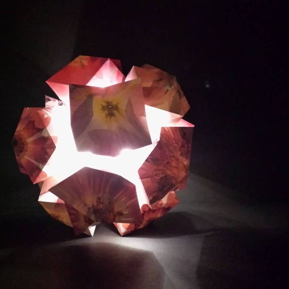 Paper Flower Lamp Led Lighting Battery Operated Geometric Paper Sculpture 11 5 Large Origami Kusudama Ball Floral Wedding Decor