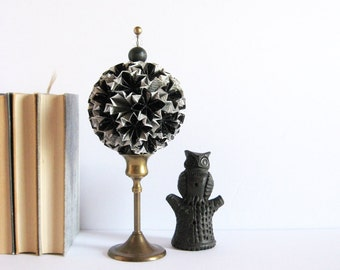 RESERVED - Black and White Paper Star Sculpture - Star Globe Topiary on Brass Pedestal - Origami Kusudama Ball - Paper Anniversary