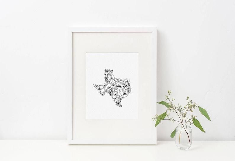Texas Wildflower Digital Print Hand Drawn Illustration image 0