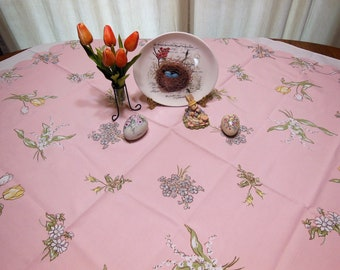 Vintage LEACOCK PRINT Kate Greenaway Pink Tablecloth Pastel Colors Lily of The Valley Roses