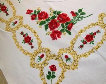 Vintage PARISIAN PRINTS Rose Filigree Tablecloth Bright Colors Red Roses