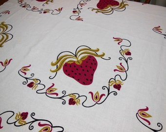 Vintage HARDY CRAFT Tablecloth Huge Red STRAWBERRIES Hearts