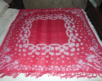 Antique Turkey Red Damask Jacquard Tablecloth Reversible