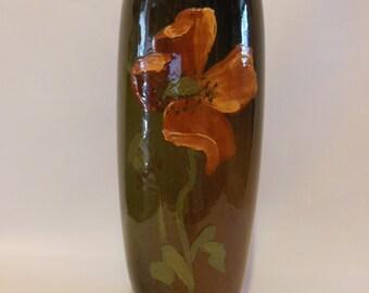 Antique Glazed OWENS Utopian Pottery Vase 1896-1907 Brown with Orange Poppy Marked on Bottom