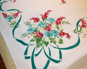 Vintage SIMTEX Tablecloth Red Yellow Teal Ribbon Swirling, Cabin, Cottage Cute
