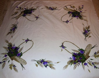 CALIFORNIA HAND PRINTS My Fair Lady Tablecloth Purple Flowers in Basket
