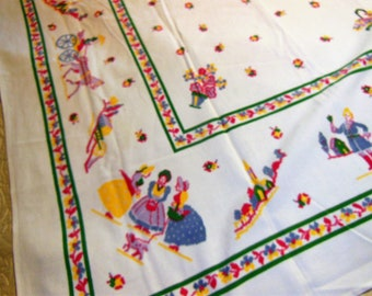 Vintage STARTEX Tablecloth Old Time Fun Cross Stitch Look Farmhouse Cabin Cottage