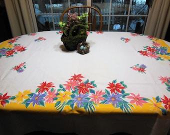 WILENDURE POINSETTIA Tablecloth Large Multi-Colors Flowers
